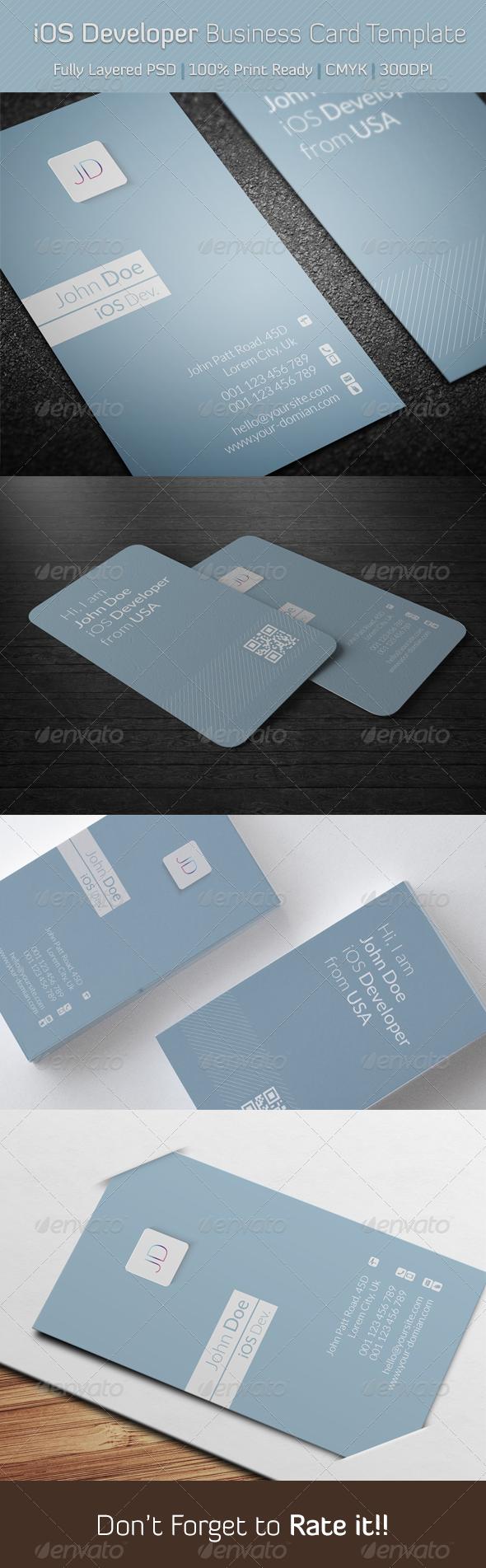 iOS Developer Business Card Template - Creative Business Cards