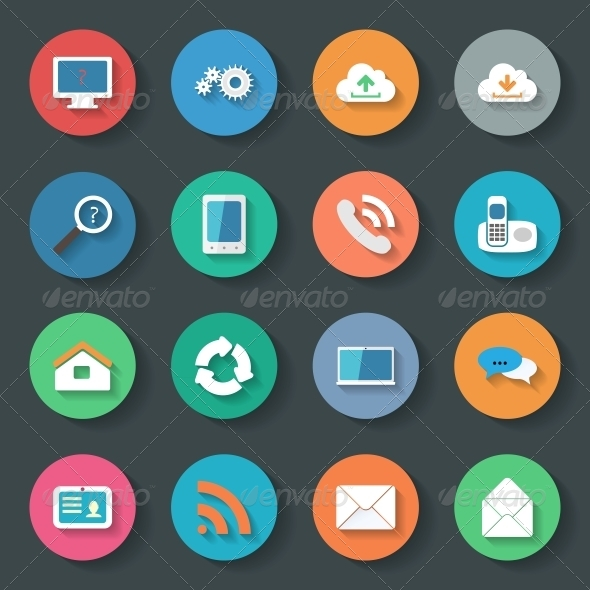 Communication Icons Flat Set Design - Web Elements Vectors