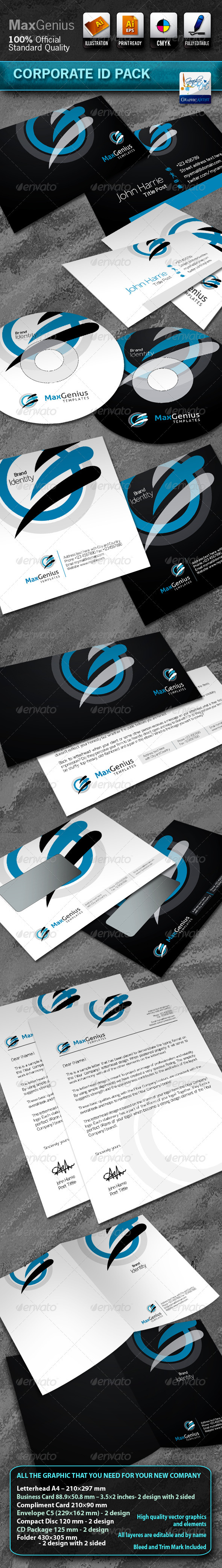 MaxGenius Business Corporate ID Pack With Logo - Stationery Print Templates