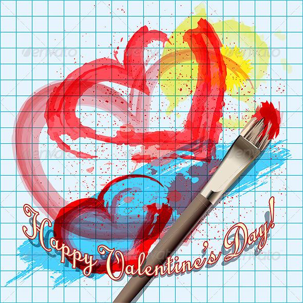 Painted Hearts - Valentines Seasons/Holidays