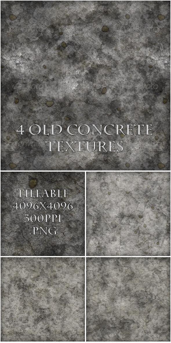 4 Old Concrete Textures - Concrete Textures