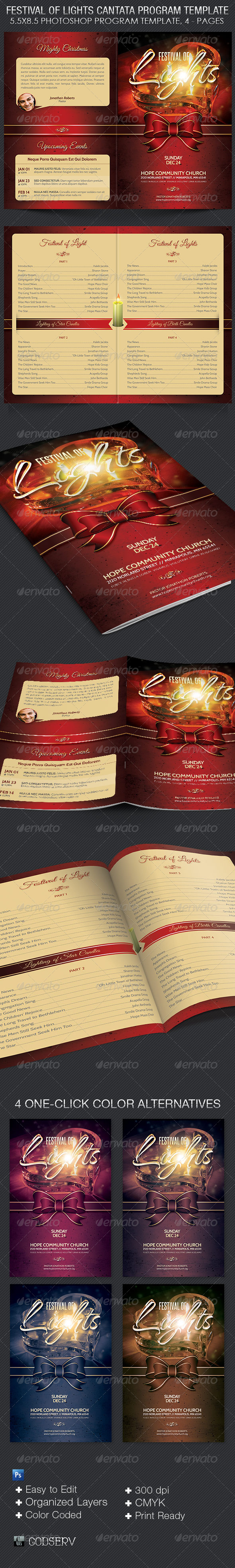Festival of Lights Christmas Program Template - Informational Brochures