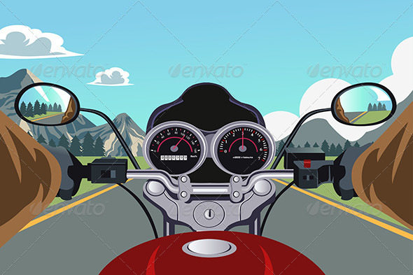Riding Motorcycle - Travel Conceptual