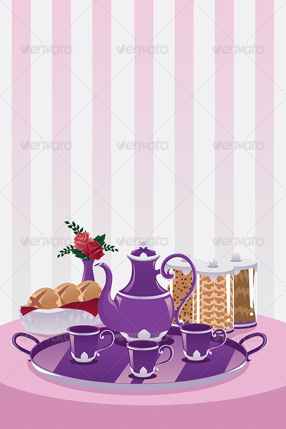 Teapot and Cups - Objects Vectors
