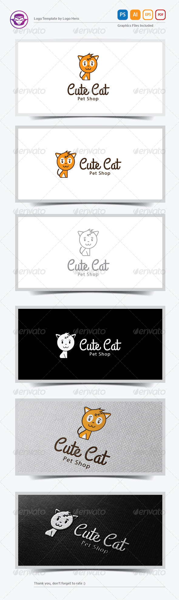 Cute Cat Logo Template - Animals Logo Templates