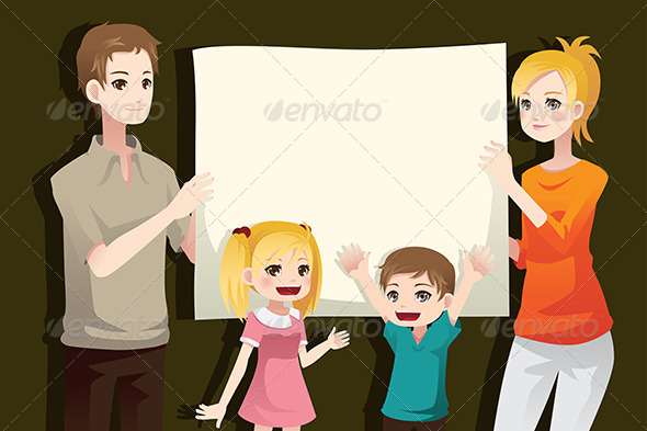 Family Holding a Blank Paper - People Characters