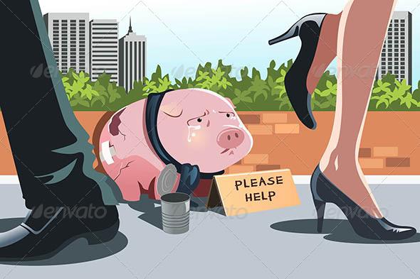 Piggy Bank Panhandling - Conceptual Vectors
