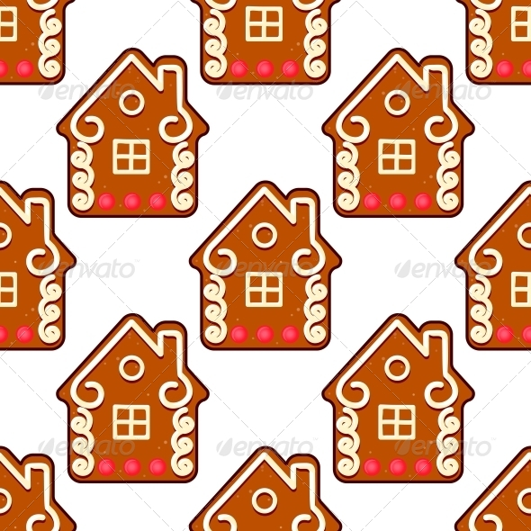 Seamless Gingerbread Pattern with People Houses - Christmas Seasons/Holidays