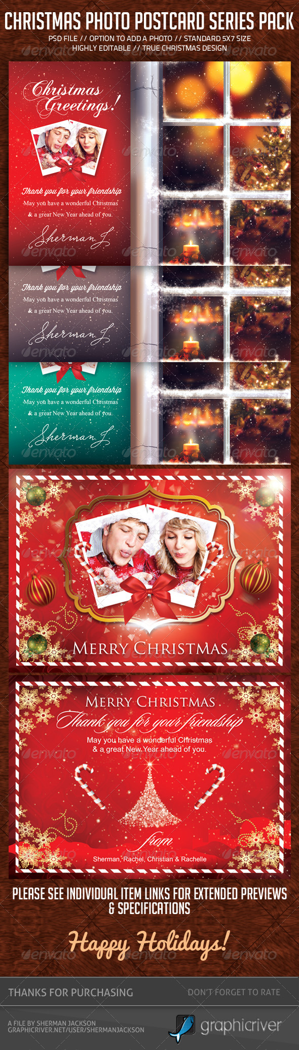 Christmas Holidays Postcard Pack (Bundle) - Holiday Greeting Cards