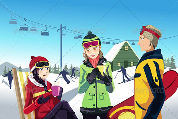 Skiing Friends - Travel Conceptual