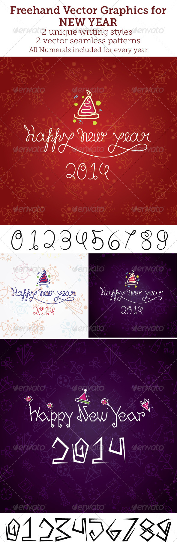 Freehand Vector Graphics for New Year - Decorative Vectors