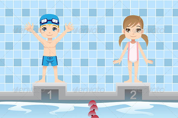 Swimmer Kids - Sports/Activity Conceptual