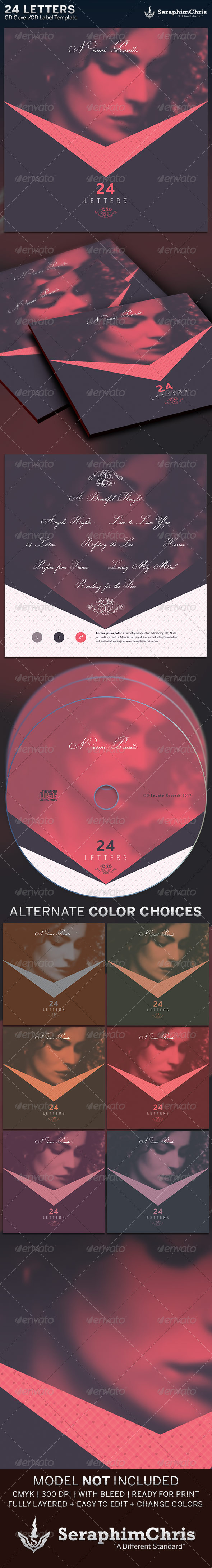 24 Letters: CD Cover Artwork Template - CD & DVD Artwork Print Templates