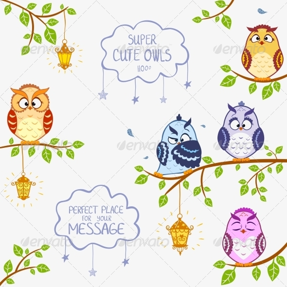 Owls Sitting on Branches - Animals Characters