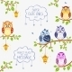 Owls Sitting on Branches - GraphicRiver Item for Sale