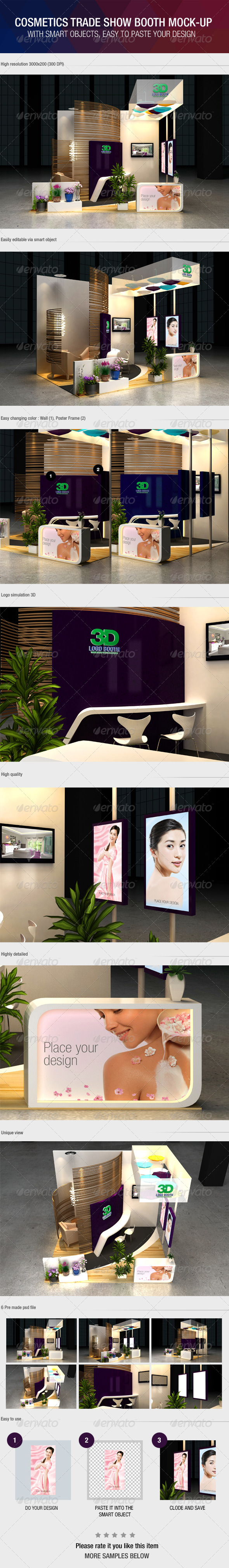 Exhibition Booth Mock Up : Cosmetics exhibition booth mock up by wutip graphicriver
