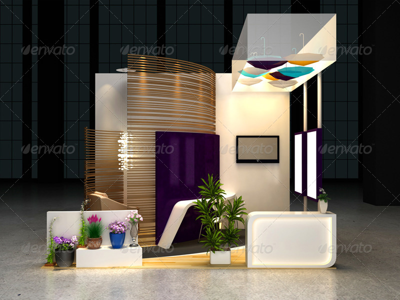 Exhibition Booth Decoration : Cosmetics exhibition booth mock up by wutip graphicriver