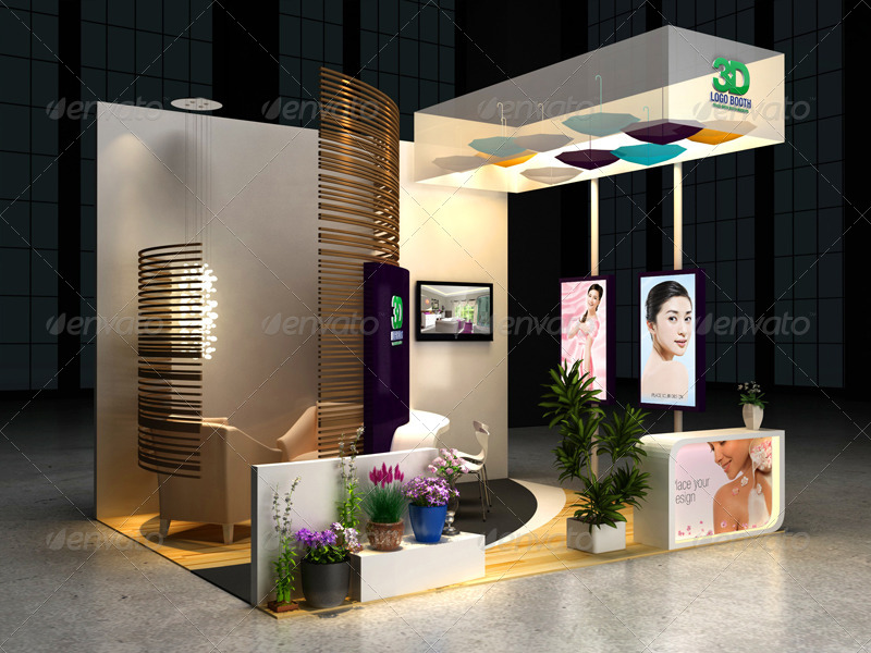 Exhibition Booth Frame : Cosmetics exhibition booth mock up by wutip graphicriver