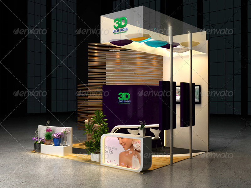 Exhibition Stall Mockup : Cosmetics exhibition booth mock up by wutip graphicriver