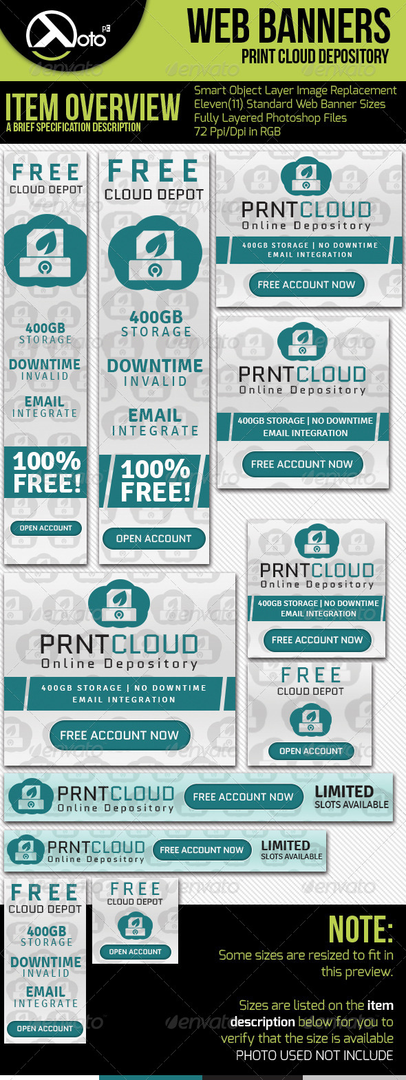 Print Cloud Online Depository Web Banners - Banners & Ads Web Elements