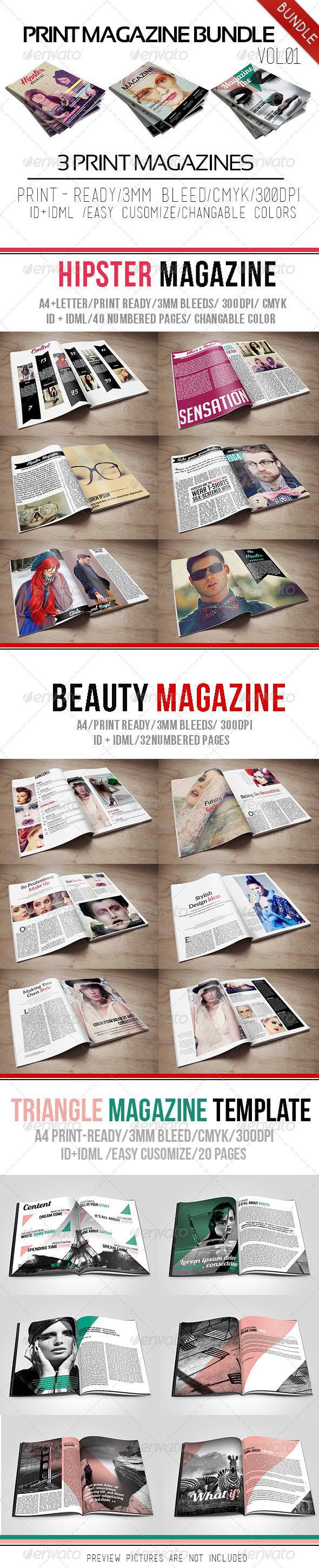 Print Magazine Bundle Vol.01 - Magazines Print Templates