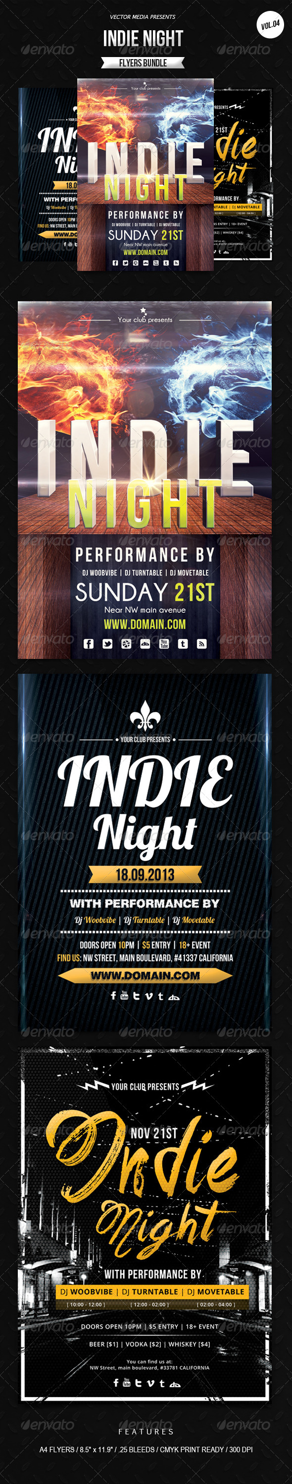 Indie Night - Flyers Bundle [Vol.4] - Clubs & Parties Events