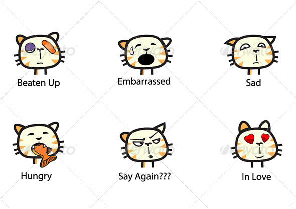 The Cat Emoticons Set - Animals Characters