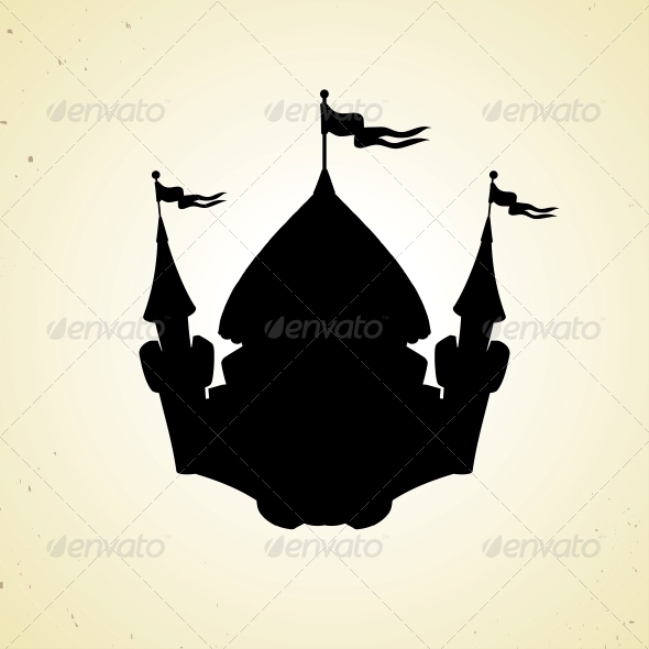 Silhouette of Cartoon Fortified Castle with Flags. - Buildings Objects