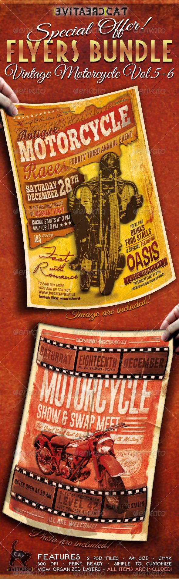 Vintage Motorcycle Flyer/Poster Bundle Vol. 5-6 - Events Flyers