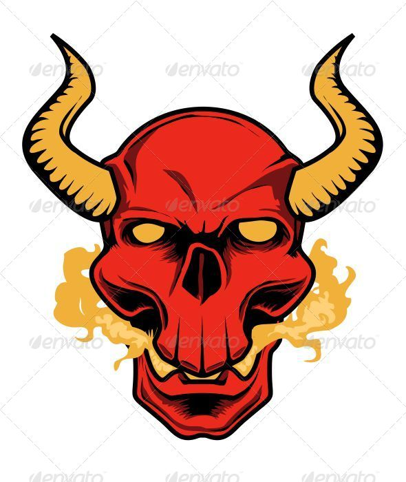 Red Devil Skull - Vectors