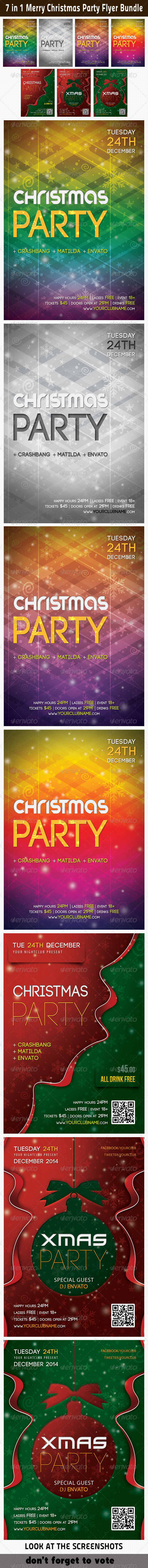 7 in 1 Merry Christmas Party Flyer Bundle - Holidays Events