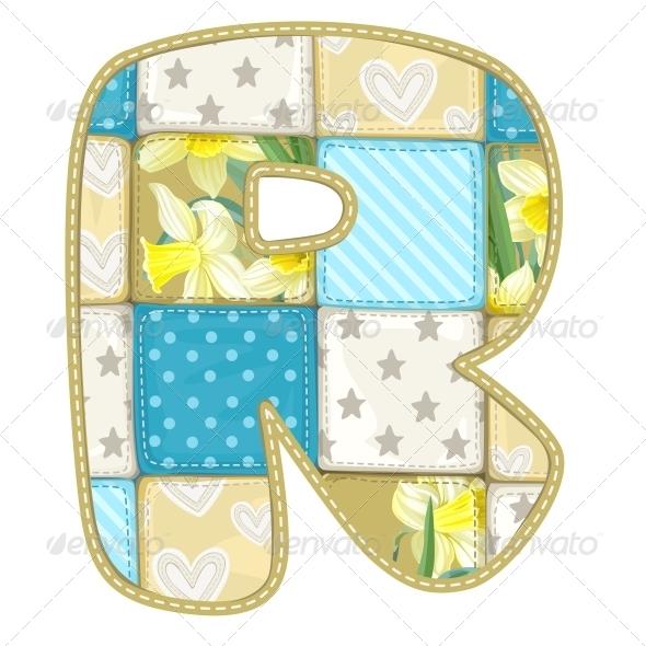 Quilted R - Decorative Symbols Decorative