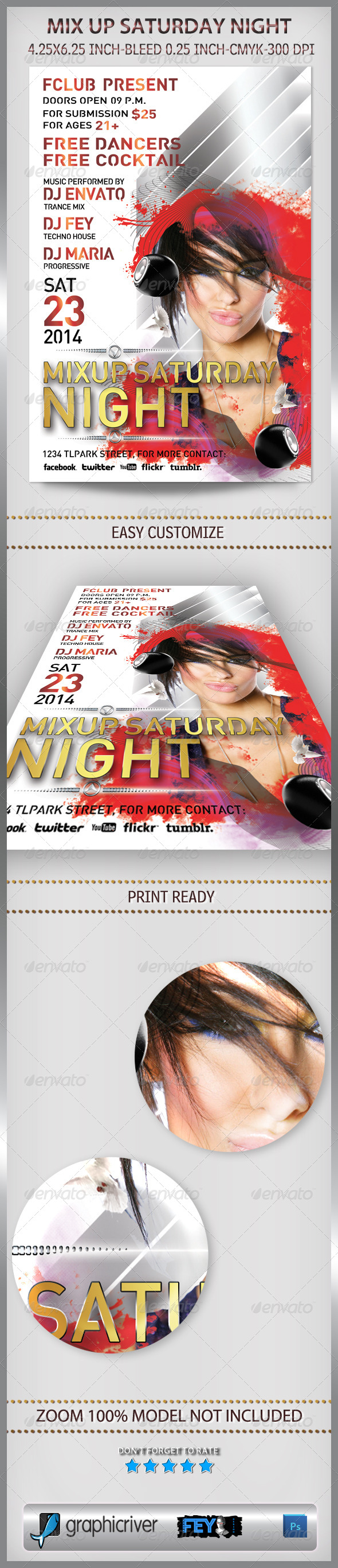 Mix Up Saturday Night Party Flyer - Flyers Print Templates