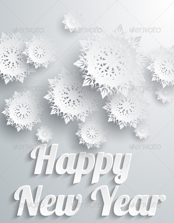Happy New Year Background with Snowflakes - New Year Seasons/Holidays