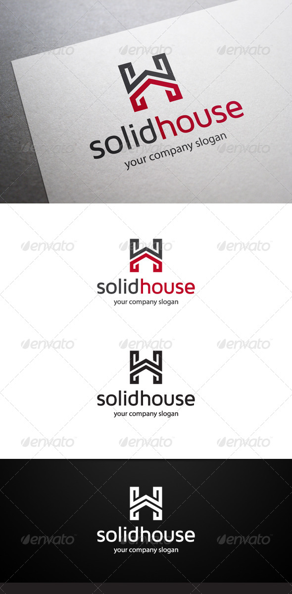 Solid House H Letter Logo - Letters Logo Templates