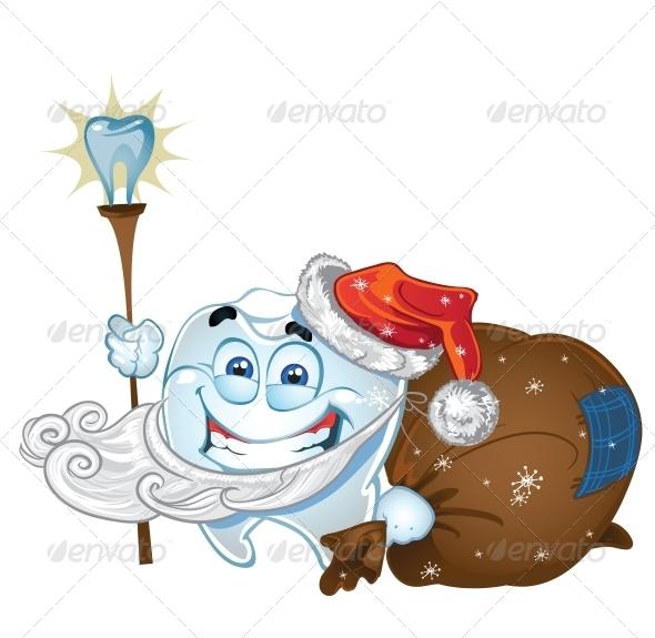 Teeth in Santa Claus Suit with Presents - Health/Medicine Conceptual