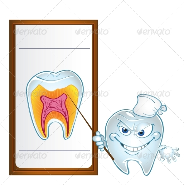 Tooth with Pointer Display Teeth in Section - Health/Medicine Conceptual