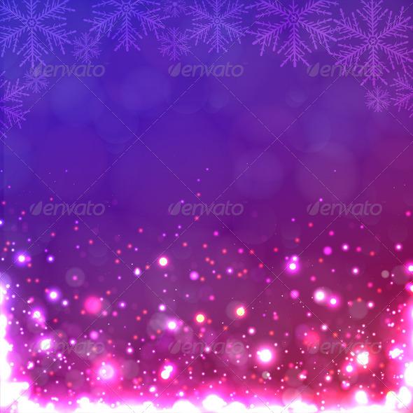 Lights on Purple Background with Snowflakes - Christmas Seasons/Holidays