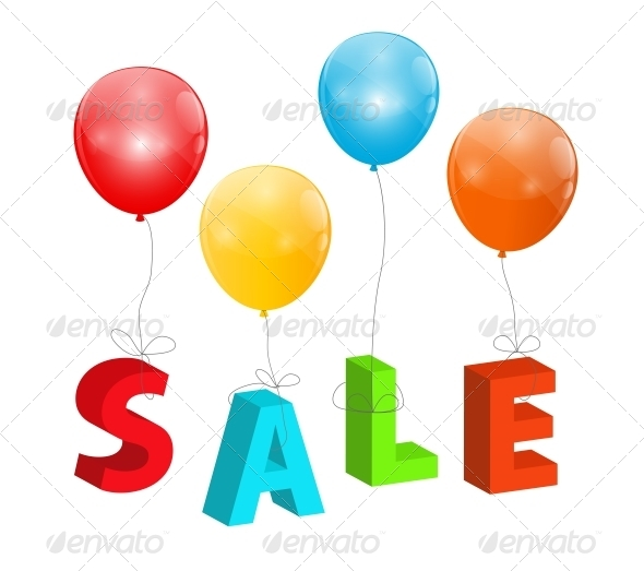 Balloons with Sale Letters - Retail Commercial / Shopping