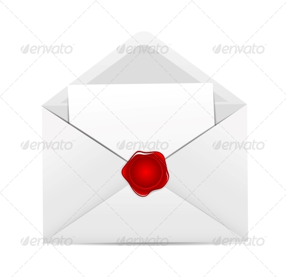White Envelope Icon with Red Wax Seal - Valentines Seasons/Holidays