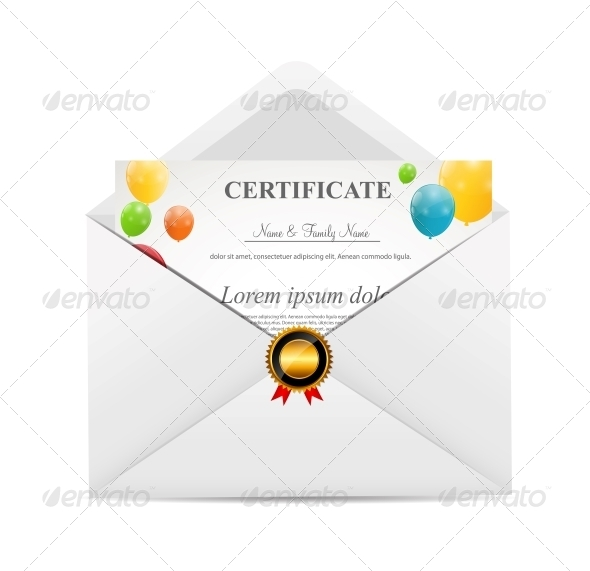 White Envelope with Certificat Vector Illustration - Christmas Seasons/Holidays