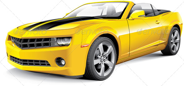 American Muscle Car Convertible - Vectors