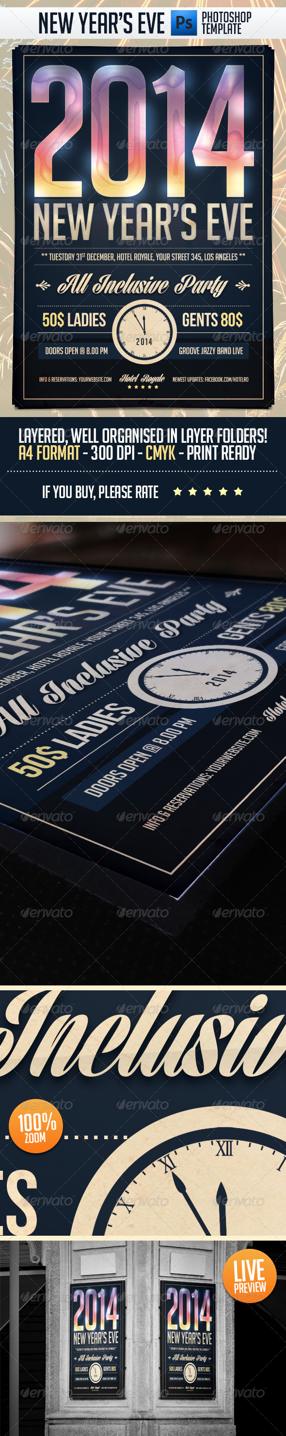 New Year Eve Party Flyer Template - Holidays Events