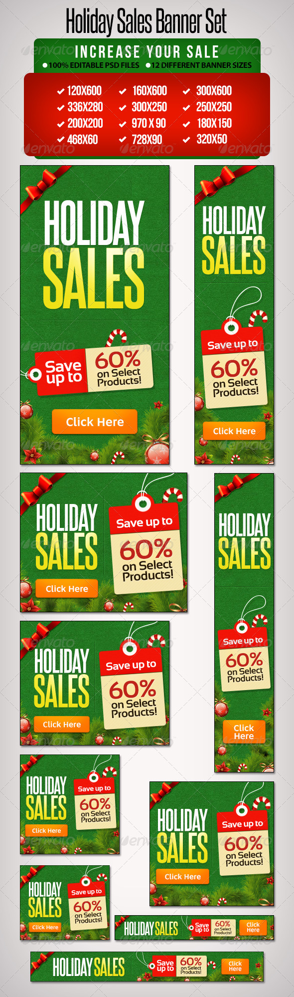 Holiday Banner Set 7 - 12 Sizes - Banners & Ads Web Elements