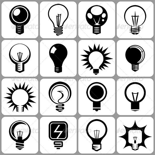 Electric Bulbs Icon Set - Miscellaneous Conceptual