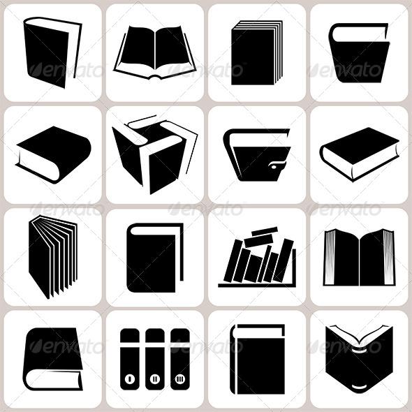 16 Book Icons Set - Miscellaneous Conceptual
