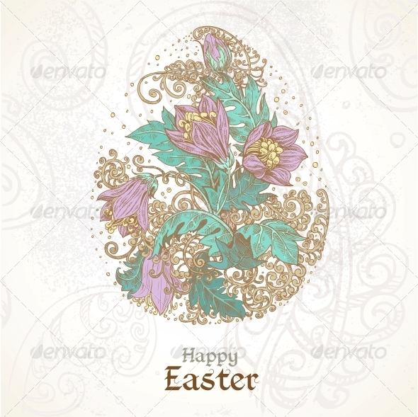 Easter Background with Delicate Egg From Flowers - Miscellaneous Seasons/Holidays