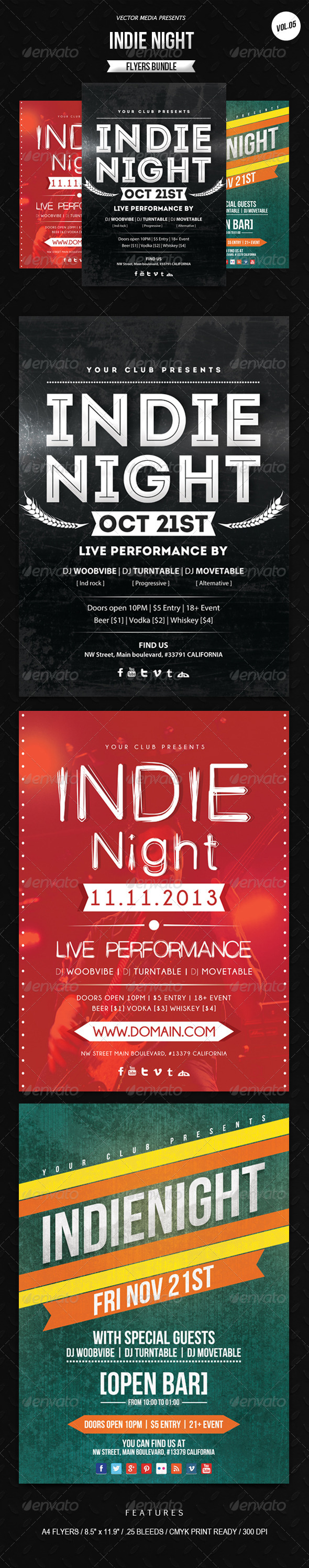 Indie Night - Flyers Bundle [Vol.5] - Clubs & Parties Events