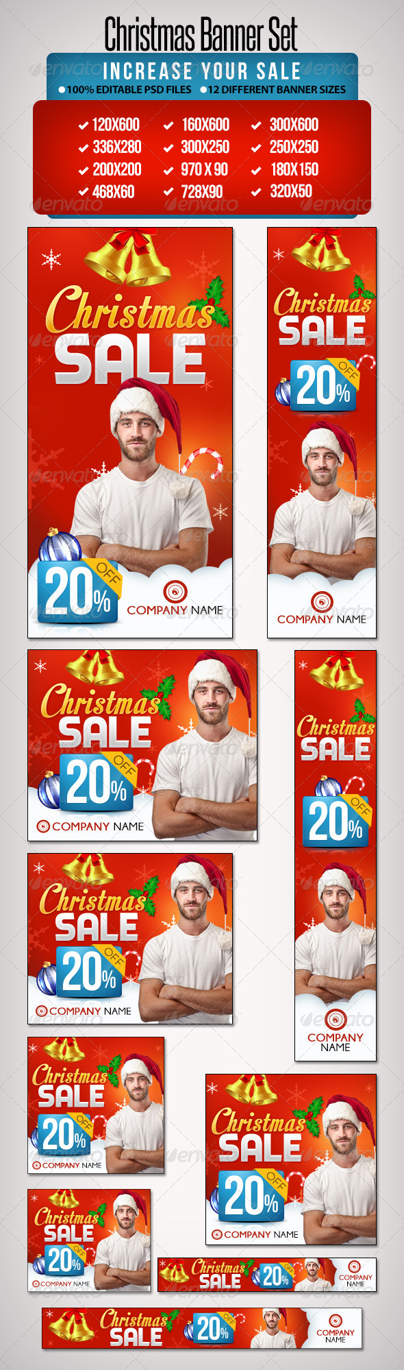 Christmas Banner Set 4 - 12 Sizes - Banners & Ads Web Elements