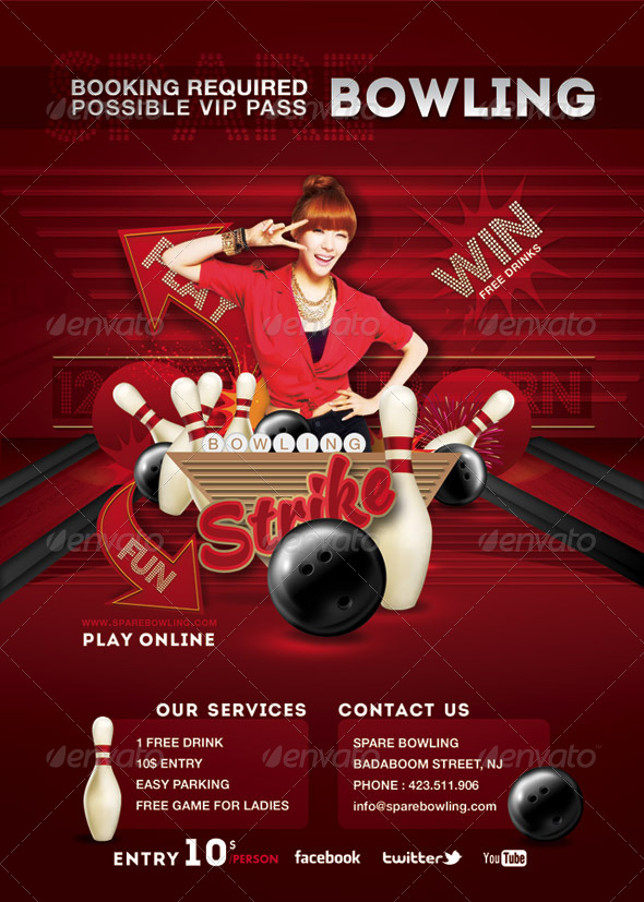 Flyer bowling evening game party by n2n44 graphicriver flyer bowling evening game party sports events pronofoot35fo Images